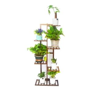 6 Tier Bamboo 7 Pot Holder Plant Stand BRAND NEW